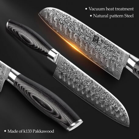 """XINZUO 7""""inch Japanese Chef's Knife 67 layer High Carbon Damascus Steel Kitchen Knives with Pakka Wood Handle Meat Santoku Knife"""