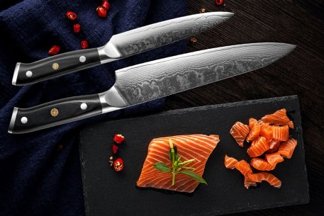 XITUO Damascus Chef Knife 2 PCS Kitchen Knives Set 67 Layer Japanese VG10 Damascus Steel Knife Santoku Cleaver Utility Tool Gift