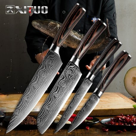 XITUO New Beauty Veins Kitchen Knives Paring Utility Santoku Slicing Chef Damascus Veins Color Wood Handle Stainless Steel Knife