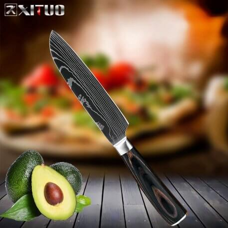 XITUO Kitchen Chef Knife Laser Damascus Pattern High Carbon Stainless Steel Non-stick Frozen Santoku Utility Cleaver Bread kni