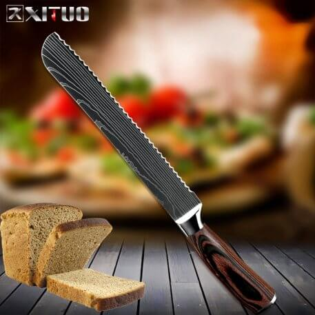XITUO Chef Knives Set Laser Damascus Stainless Steel Kitchen Knives 4 Pieces Cooking Knife Sets High Carbon Blade Wood Handle