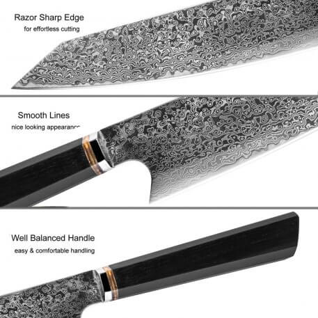 XITUO Handmade Knife 67-layers Japanese Damascus Stainless Steel Chef Knife Kiritsuke T Head Kitchen Utility Knives Wood Handle