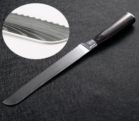 XITUO Kitchen Bread Knife Serrated Design Laser Damascus Stainless Steel Blade 8 inch Chef Knives Bread Cheese Cake Tool