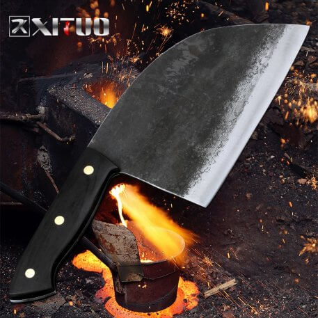 XITUO Full Tang Handmade Forged Chef Knife Clad Steel Hard Blade Chinese Cleaver Kitchen Knives Meat Vegetables Slicing Chopping