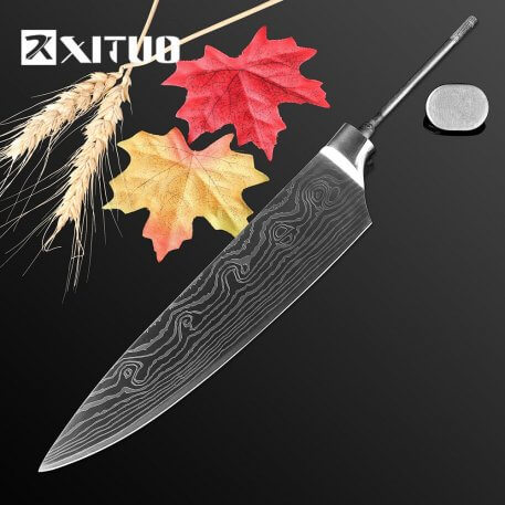 """XITUO New DIY handmade Knife Blank 7CR17MOV Stainless Steel Billet Material Tool Parts 8"""" chef knife kitchen accessories cutting"""