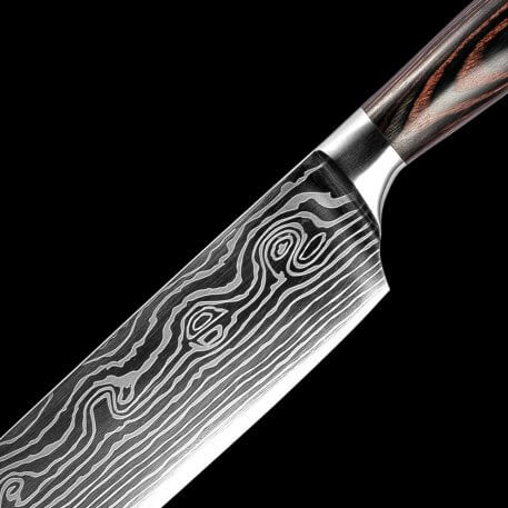 """High quality Imitation Damascus steel kitchen knives 5""""inch japanese Santoku Knives Utility cleaver Slicing Vegetable Chef Knife"""