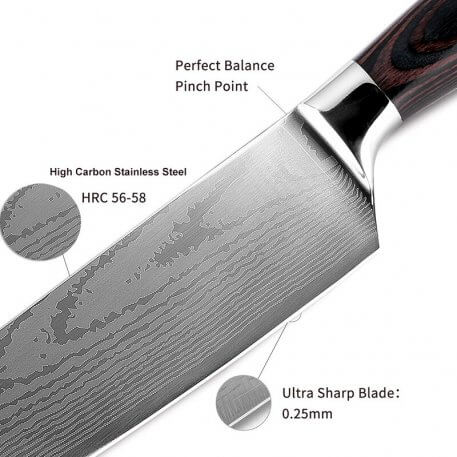 XITUO Kitchen knife Pro Chef's Knife 8 inch Japanese 7CR17 High Carbon Stainless Steel Sanding Laser Damascus Pattern Santoku Kn