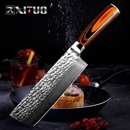 XITUO Kitchen Cleaver Knife Chinese Forged Damascus Laser Pattern Chef Knife High Carbon Stainless Steel Meat Slicing Knife Tool