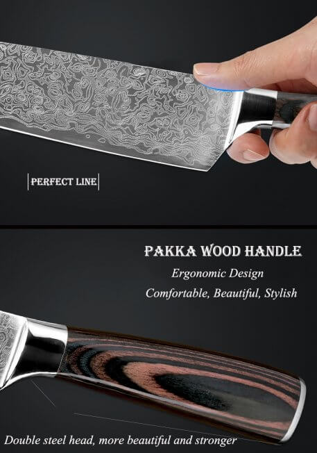 """XITUO 2 pieces kitchen knife set 8""""5""""inch Imitation Damascus steel Pattern kitchen knife chef paring cleaver knife wood handle"""
