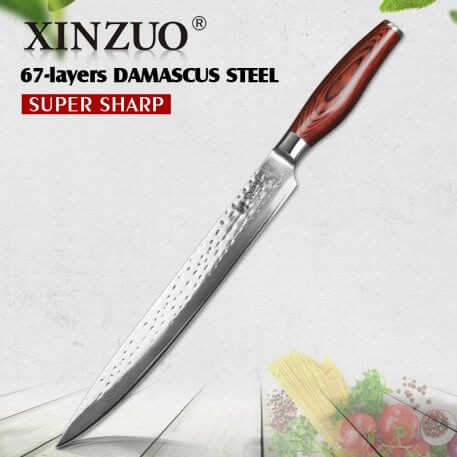 XINZUO 10'' Cleaver Knives 10Cr15CoMoV High Carbon Damascus Steel 2018 Excellent Kitchen Sushi Sashimi Knife Pakka Wood Handle