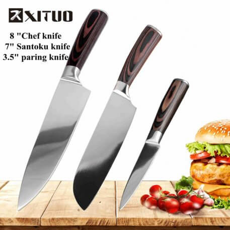 XITUO Kitchen Knife Set sharp Japanese Santoku Stainless Steel Kitchen Knives Chef Knife Set Utility Paring Knives Cooking Tools