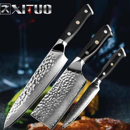 XITUO chef knife Damascus 67 layer steel forging anti-stick sharp cut fish vegetable fruit kitchen knife household cooking tools