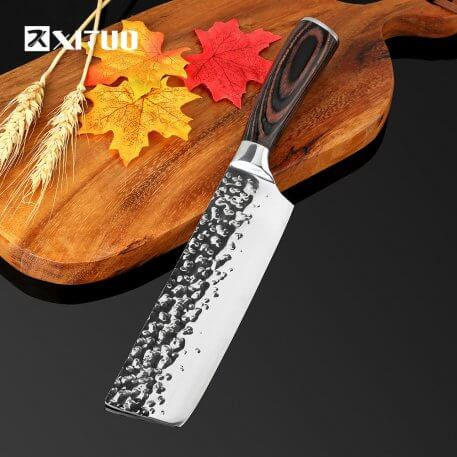 XITUO Kitchen Knife Chef 8 inch Stainless Steel Knives Sushi Meat Santoku Japanese 7CR17 440C High Carbon Knife Cooking Pakka Wo