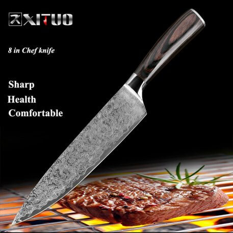 """XITUO 8""""inch chef knife Japanese Damascus steel Pattern Professional kitchen knives Utility Santoku Cleaver Filleting Home tool"""