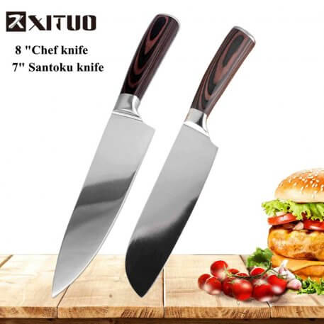 """XITUO New 7""""+8"""" inch Santoku Kitchen Knife Japanese Steel Blade Razor Sharp High Carbon Stainless Steel Cut Chef's Cooking Tools"""