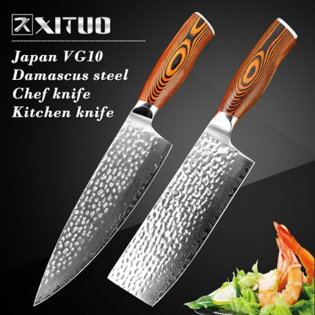 """XITUO High quality 8""""inch Utility Chef Knives Damascus steel Santoku kitchen Knives Sharp Cleaver Slicing Knives Gift Knife Tool"""