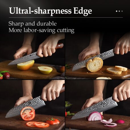 XINZUO 5PCS Kitchen Knives Sets Damascus Super Sharp Steel Kitchen Tool Cleaver Chef Santoku Utility Knife Rosewood Handle