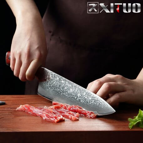 XITUO Damascus Kitchen Chef Knife 8 Inch Professional Japanese Cleaver Slice Utility Knives Exquisite Gift with Knife Cover NEW