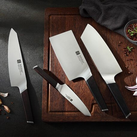 XINZUO 4 Pcs Kitchen Knife Set Stainless Steel Chef Cleaver Slicing Fruit Utility Knife g10 Handle Kitchen Tools Accessories