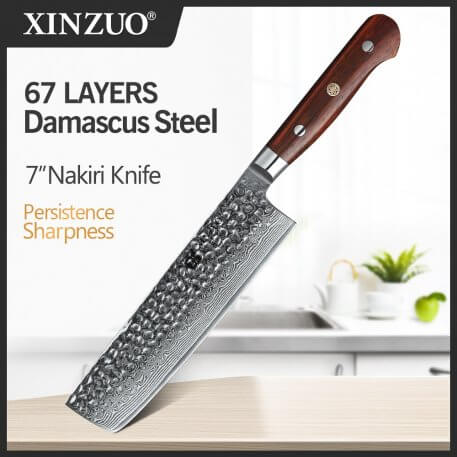 XINZUO 7'' inch Nakiri Knife 67 layer Damascus Steel Kitchen Knife Chinese Chef Butcher Knives Rosewood Handle Cleaver Cutlery