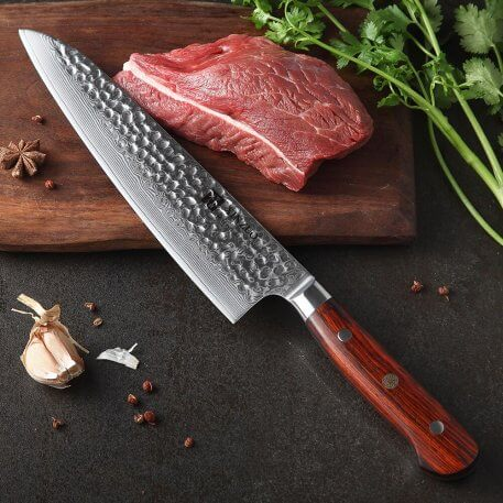 NEW 2020 Damascus Steel Kitchen Knives Set Handmade Knife Chef Cooking Tools Rose wood Handle High Quality Eco Friendly Products