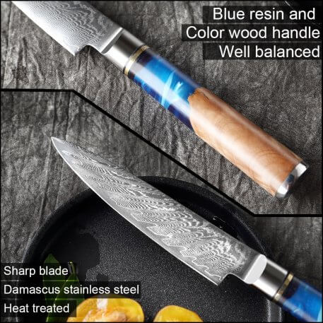 XITUO Damascus Steel VG10 Utility Knife Chef Knife Paring Vegetable Kitchen Knife Blue Resin Color Wood Handle Cooking Tool