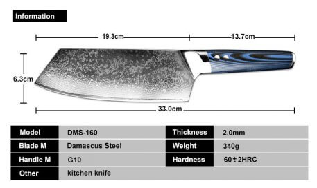 XITUO Damascus Steel Chef Knives 67 Layer Japanese VG10 Damascus Kitchen Gyuto Knife Handmade Sushi Slicing Knife Blue g10Handle