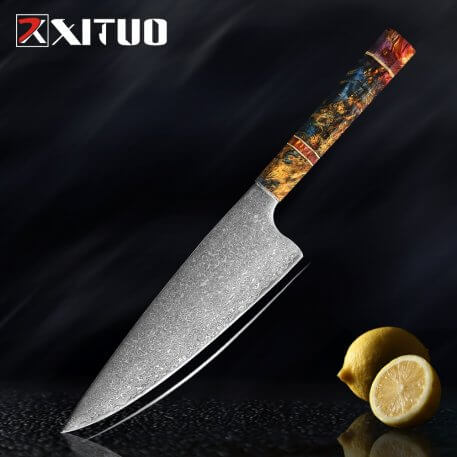 XITUO Chefs Nakiri Knife Japanese Damascus Steel Chef Knife Unique beautiful handle Damascus Kitchen Knife Solidified Wood gift