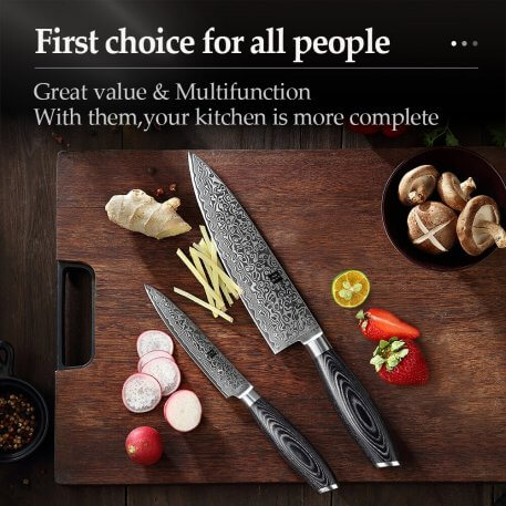 XINZUO 2 Pcs Kitchen Knives Set 67 layers Damascus High Carbon 8'' Chef &5'' Utility Knife Stainless Steel with Pakkawood Handle