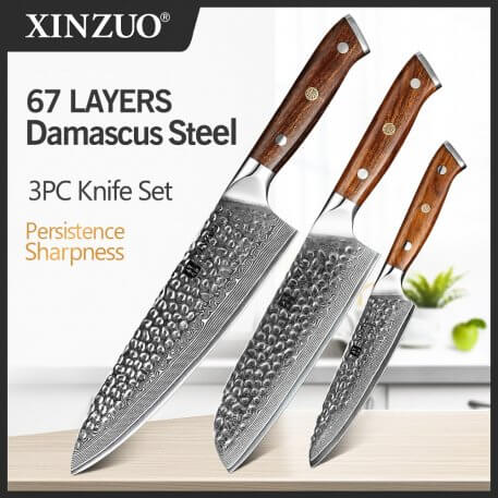 XINZUO 3 PCS Kitchen Knives Sets Japanese VG 10 Damascus Steel Knife Chef Gyuto Knife Stainless Steel Cleaver