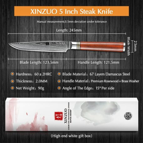 XINZUO 5'' inches Pro Steak Knife High Carbon Japanese VG10 Damascus Steel Kitchen Knives Blade Sharp Knife Kitchen Tools Gift