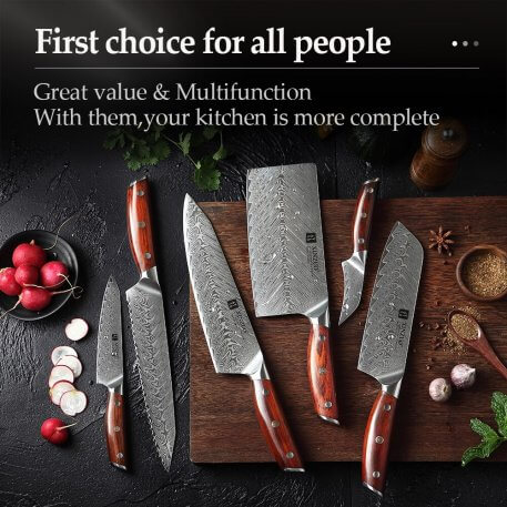 XINZUO 6 PCS Kitchen Knives Sets Damascus Chef Cleaver Santoku Paring Vegetable Cutter Professional Cooking Kitchen Knives Set