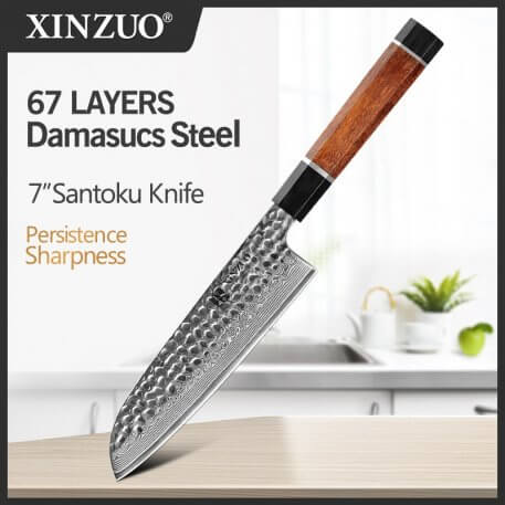 XINZUO 7'' Santoku Knife VG10 Japanese Damascus Stainless Steel Japanese Damascus Kitchen Knives Professional Chef's Tools