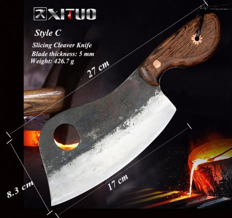 XITUO Full Tang Handmade Chopping Cleaver Butcher Knife High Carbon Clad Steel Kitchen Chef Knife Japanese Santoku Tool Hot New