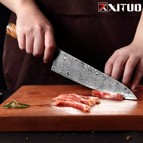 XITUO Powder VG10 Damascus Steel Chef Knife Cleaver Paring Fish Kitchen Knife Blue Resin Color Wood Handle Cooking Tool