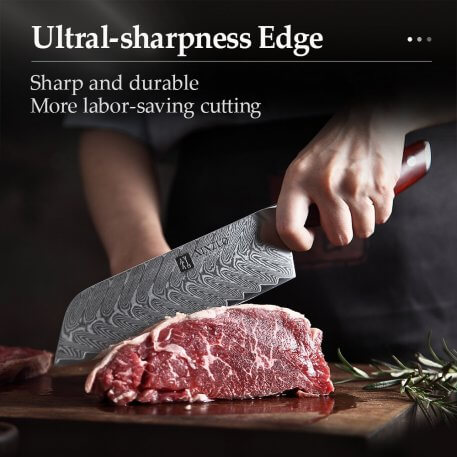 """XINZUO 7 """" Kitchen Santoku Knife High Carbon Stainless Steel Damascus Kitchen Knives Japanese Style Chef Knives Rosewood Handle"""