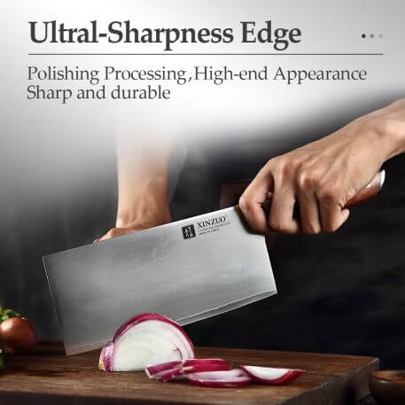 XINZUO 8'' inch Stainless Steel Cleaver Knives Full Tang Chef Knife Meat Fish Cooking Knife Kitchen Accessory with Red Handle