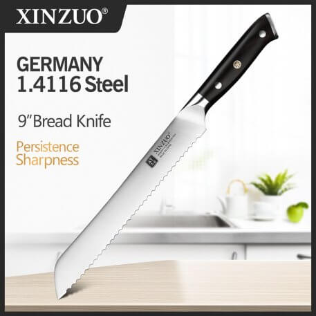 XINZUO 8'' Serrated Kitchen Knives Wood Handle Germany 1.4116 Stainless Steel Blade Chef Knives Cheese Cake Cutter Tool Knife
