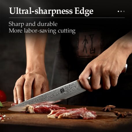 """XINZUO 8"""" Cleaver Knife Japanese Meat Knife Kitchen Cutlery VG10 Damascus New Slicing Master Knives BBQ Tools Rosewood Handle"""