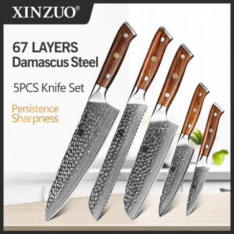 XINZUO 5PCS Knife Set VG10 Damascus Steel Pro Japanese Chef Knives High Carbon Stainless Steel Meat Santoku Paring Knife