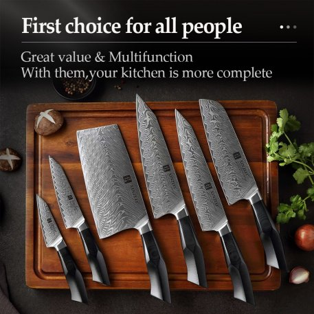 XINZUO 6PCS Knives Sets Damascus Steel Natural Pattern Chef Knife Sharp Cleaver Slicing Utility Knives Tool Kitchen Accessories