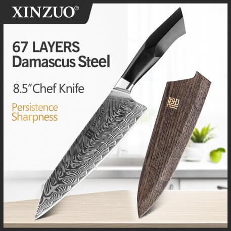 XINZUO 8.5'' inches Chef Knife Damascus Steel VG10 Kitchen Knives High Quality Stainless Steel G10 + Mosaic Brass Rivet Handle