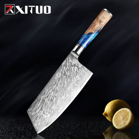 XITUO 67 Layers Japanese Damascus Steel VG10 Chef Knife Cleaver Kitchen Knife Blue Resin Color Wood Handle Home Cooking Tools