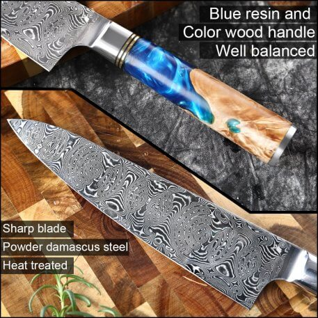XITUO Powder Damascus Steel VG10 Chef Knife Cleaver Paring Fish Meat Kitchen Knife Blue Resin and Color Wood Handle Cooking Tool