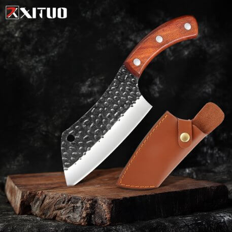 XITUO Chef knife Cleaver High Carbon Stainless Steel Beef knife Sharp Kitchen Knife Filleting Knive Leather sleeve Best Gift