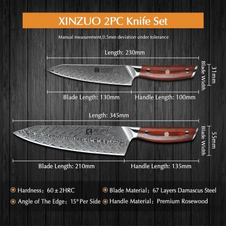 XINZUO 2PC Kitchen Knives Set Meat Cleaver Vegetables Fruit Paring Knife Stainless Steel Japanese Style Sharp Kitchen Chef Knife