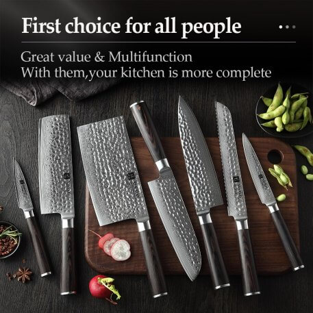 XINZUO 7 PCS Chef Knife Set Japanese Damascus Steel Kitchen Knives Sets Cleaver Paring Santoku Slicing utility Cooking Tool