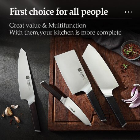 XINZUO 5pcs Knives Set with Knife Holder Stainless Steel Chef Utility Bone Cleaver Knives Cooking Tools with Ebony Handle