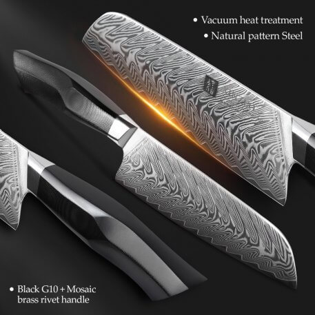 """XINZUO 7.3"""" Knife 67 Layers High Carbon Damascus Steel Kitchen Knives with G10 + Mosaic Brass Rivet Handle Meat Santoku Knife"""