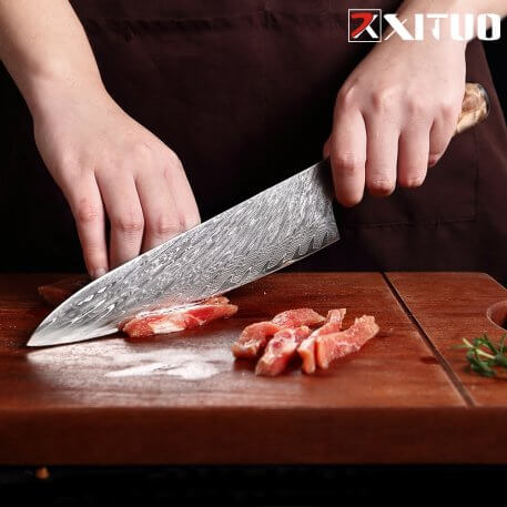 XITUO Damascus Steel Japanese VG10 Chef Knife Paring Fruit Vegetable Kitchen knife Blue Resin Color Wood Handle Cooking Tool
